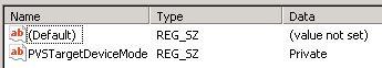 PVS target device mode registry value