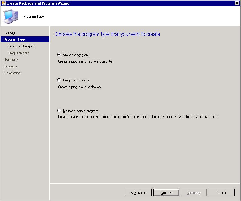"Automating Citrix with SCCM - SCCM ""create package wizard"" step 2"