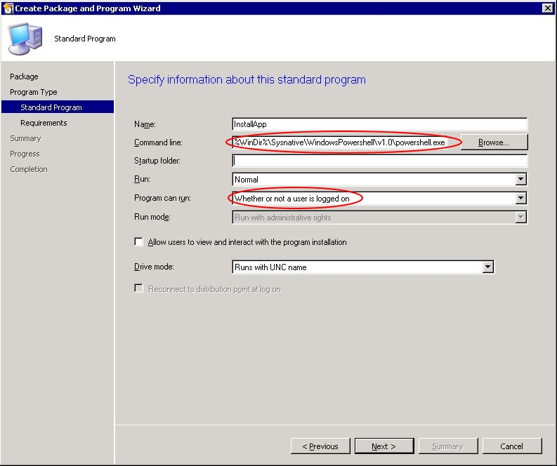"Automating Citrix with SCCM - SCCM ""create package wizard"" step 3"
