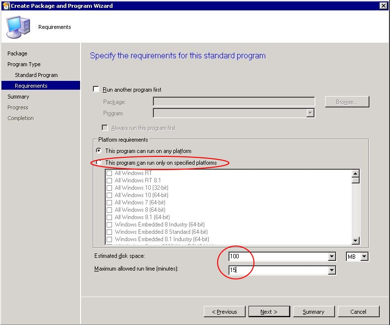 "Automating Citrix with SCCM - SCCM ""create package wizard"" step 4"
