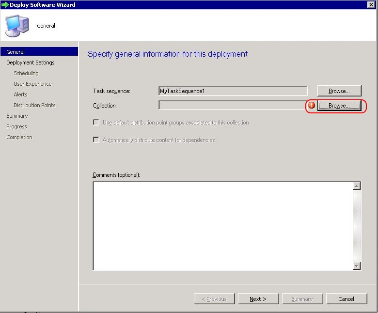 Deploy SCCM task sequence - step 2