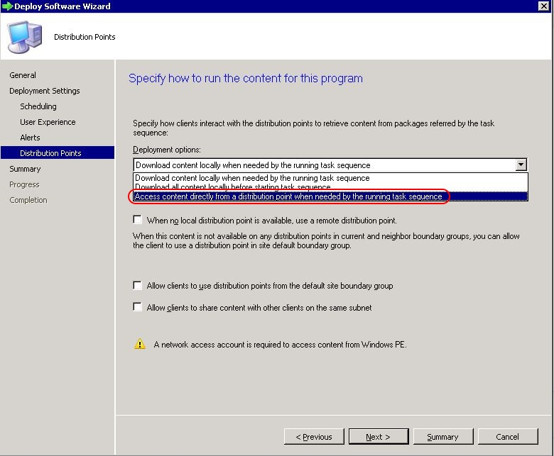 Deploy SCCM task sequence - step 7