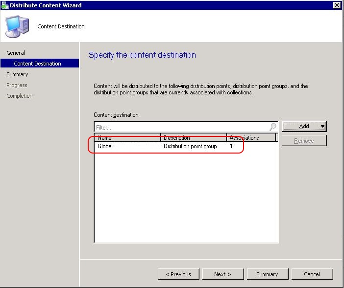 SCCM package - distribute content wizard step 3