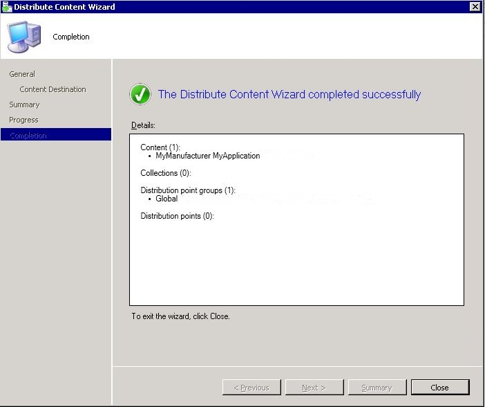 SCCM package - distribute content wizard step 5