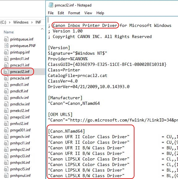 Printer Drivers Installation and Troubleshooting Guide - INF file contents example