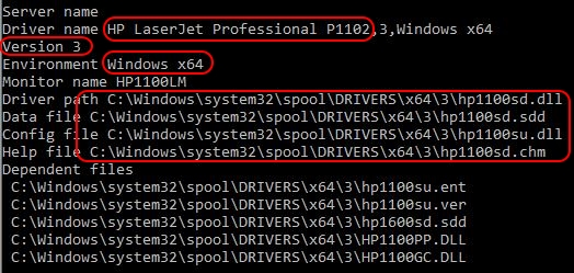 Printer Drivers Installation and Troubleshooting Guide - Installed printer driver details prndrvr.vbs -l