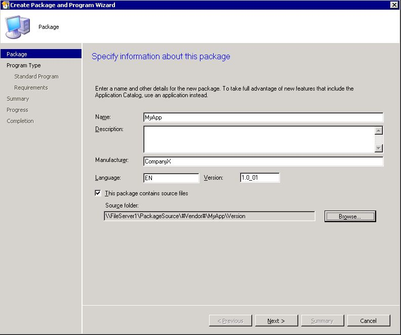 SCCM Fundamentals: create package 2