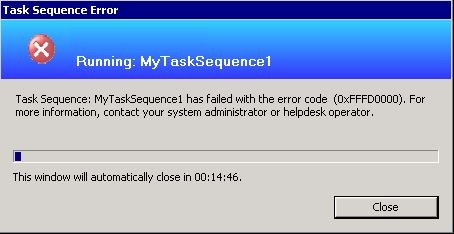 Test SCCM - error running task sequence
