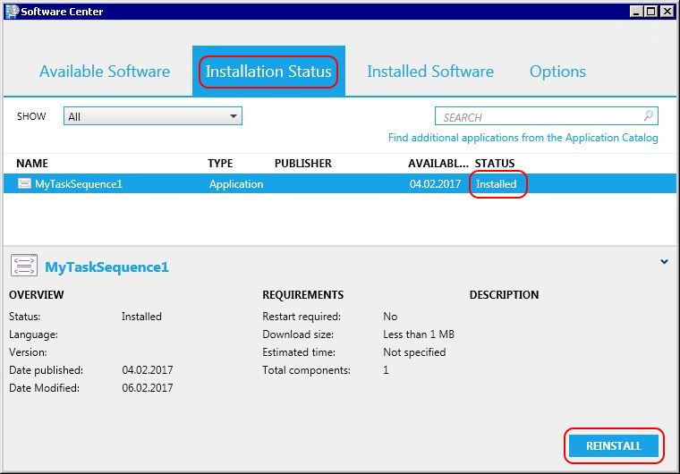 Test SCCM - task sequence installed successfully