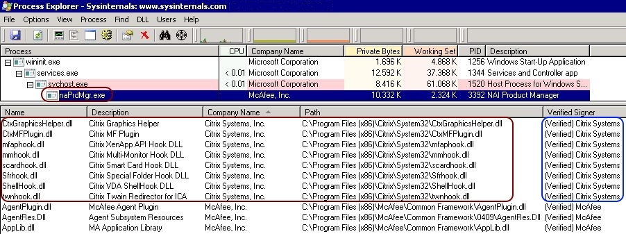 Analyzing the McAfee MFEHIDK event log warning with Process Explorer - Process Explorer verified signer