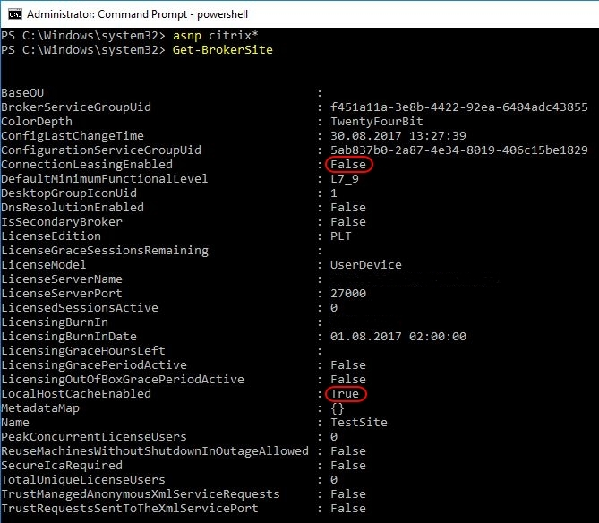 Citrix Delivery Controller unattended installation with PowerShell and SCCM - Local Host Cache enabled by default, Connection Leasing disabled by default (Get-BrokerSite)