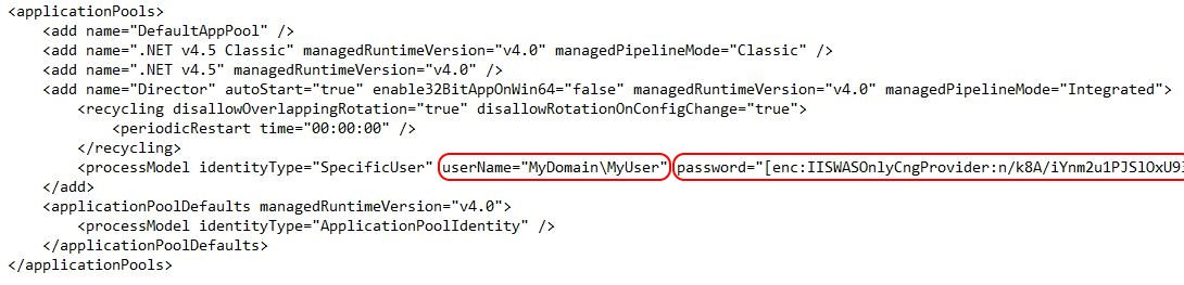 Citrix Director unattended installation - Application pool encrypted password