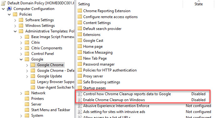 Deep-dive automating and configuring Google Chrome - Group policy disable chrome Cleanup Tool and Reporting