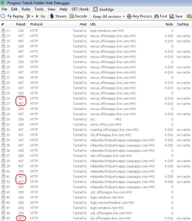 Solving Office 365 activation issues - Office 365 Fiddler trace
