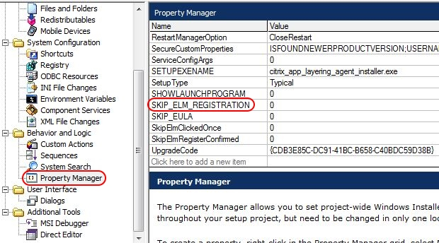 Citrix App Layering Agent unattended installation - InstallShield SKIP_ELM_REGISTRATION property