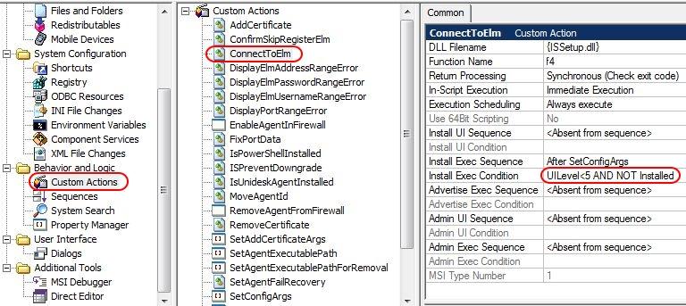 Citrix App Layering Agent unattended installation - InstallShield custom action ConnectToELM condition original