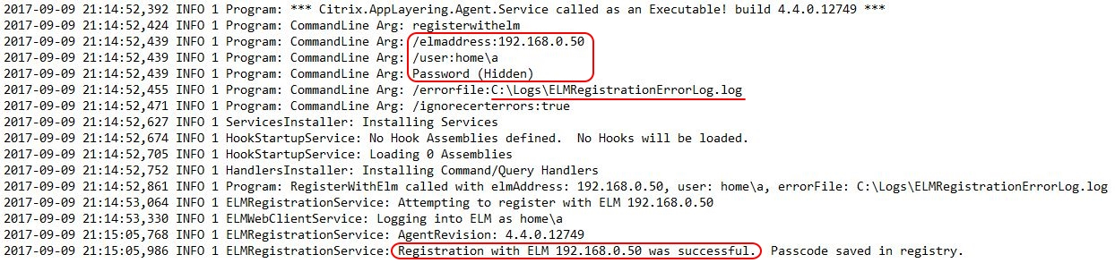 Citrix App Layering Agent unattended installation - applayering.agent log file successful ELM registration