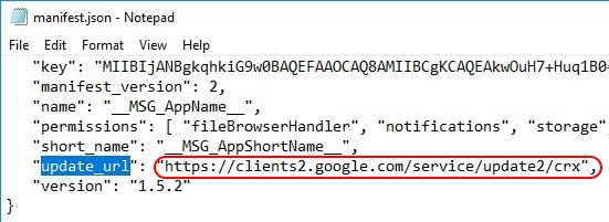 Deploying Google Chrome extensions using Group Policy - Extension manifest.json update URL