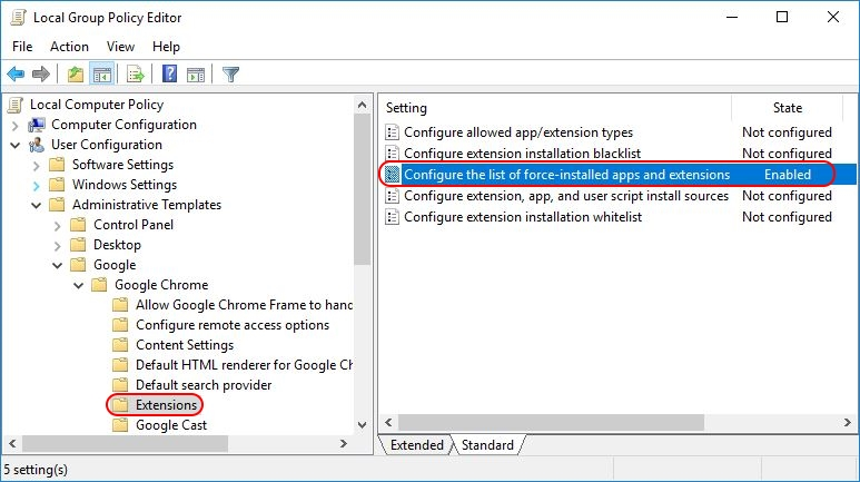 Deploying Google Chrome extensions using Group Policy - Group Policy enable extensions