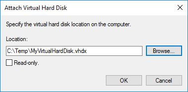Automate VHD Offline Defrag for Citrix Provisioning Server - Computer Management attach VHD browse window
