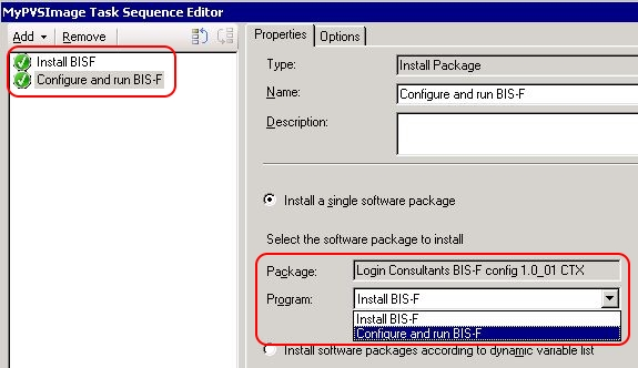 How to configure and run BIS-F in an SCCM task sequence - SCCM task sequence