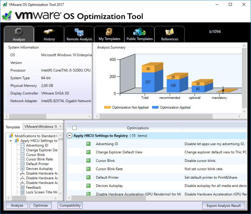 Image Optimization Tools Comparison Matrix - VMware OS Optimization Tool console