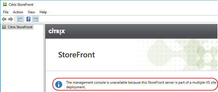 Citrix StoreFront unattended installation with PowerShell - StoreFront management console unavailable in multiple-IIS site deployment