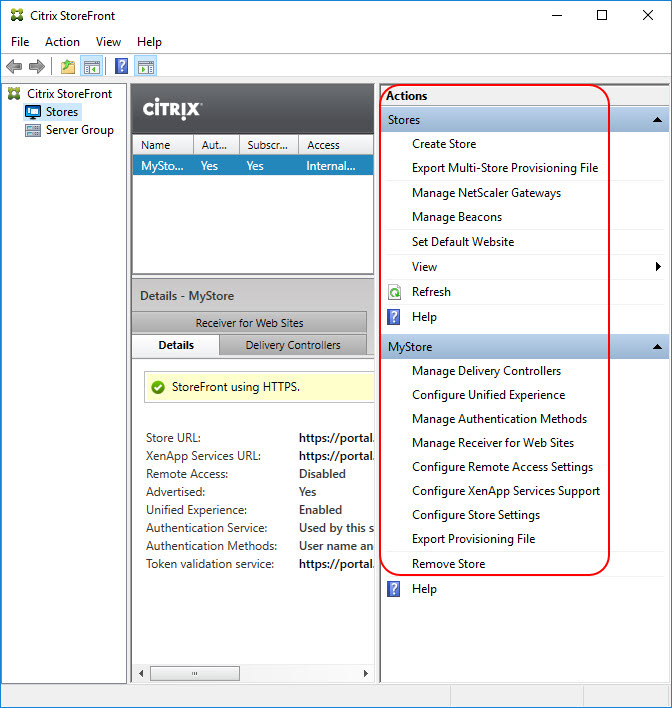 Translating the Citrix StoreFront console to PowerShell - Actions pane overview