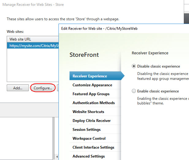 Translating the Citrix StoreFront console to PowerShell - Console- Manage Receiver for Web sites