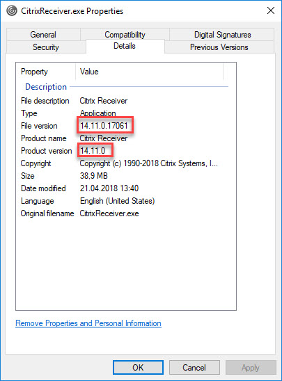 Citrix Receiver unattended installation with PowerShell - Citrix Receiver executable details
