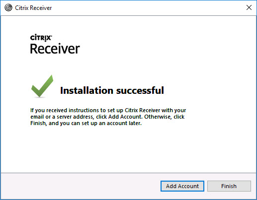Citrix Receiver unattended installation with PowerShell - Last installation window with Add Account button