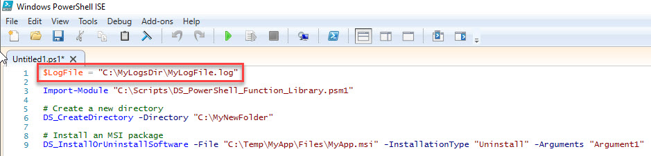 PowerShell function library - Define custom logfile in script