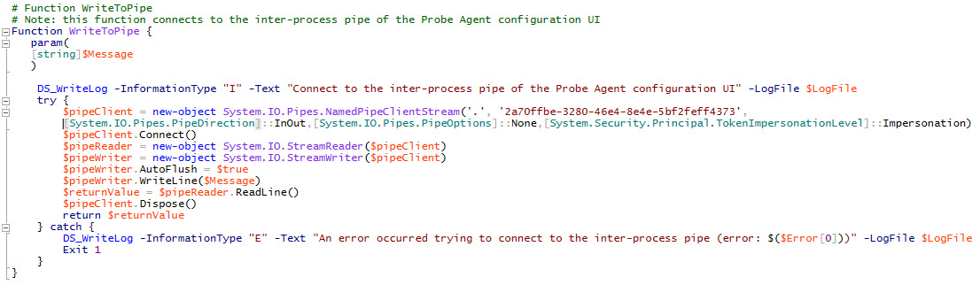 Citrix Application Probe Agent unattended installation - Screenshot PowerShell script WriteToPipe function