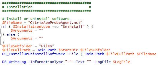 Citrix Application Probe Agent unattended installation - Screenshot PowerShell script probe agent installation