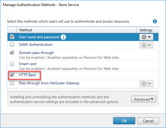 Citrix Application Probe Agent unattended installation - StoreFront Authentication Methods add HTTP Basic