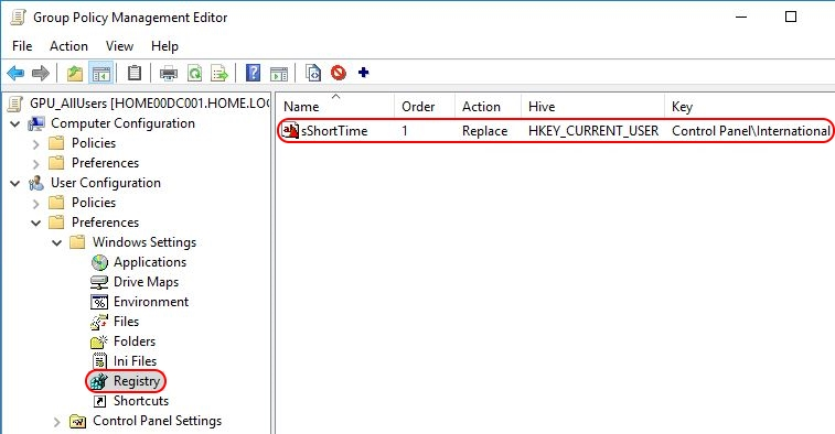 Configuring Regional Settings and locales with Group Policy - Group Policy Preference short time configured
