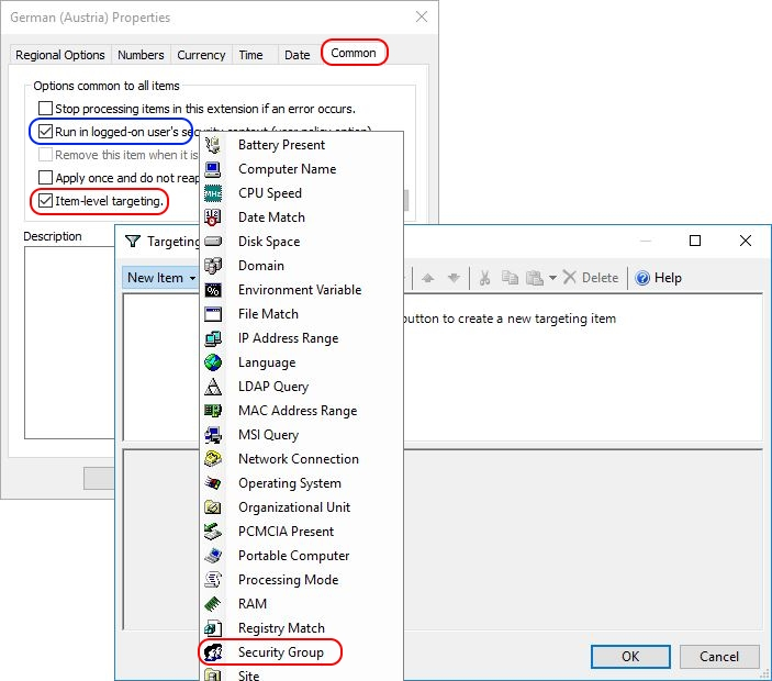 Configuring Regional Settings and Windows locales with Group Policy - Group Policy Regional Settings Item-Level Targeting