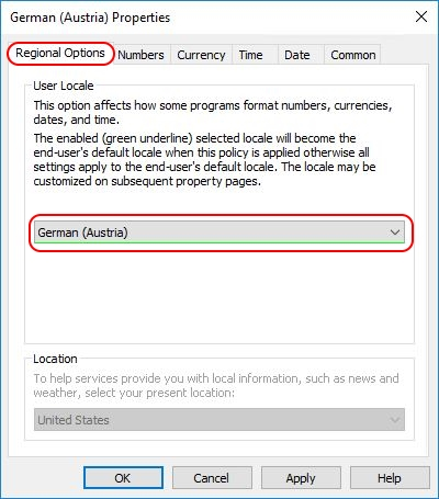 Configuring Regional Settings and locales with Group Policy- Group Policy Regional Settings regional options tab