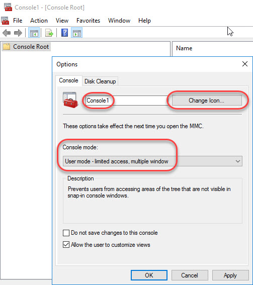 Creating a custom management console for your Citrix tools - Configure MMC options