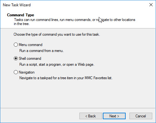 Creating a custom management console for your Citrix tools - Create new taskpad view - new shell command