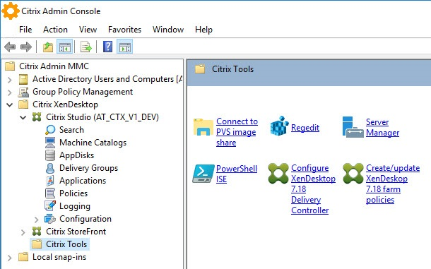 Creating a custom management console for your Citrix tools - Example of a custom MMC