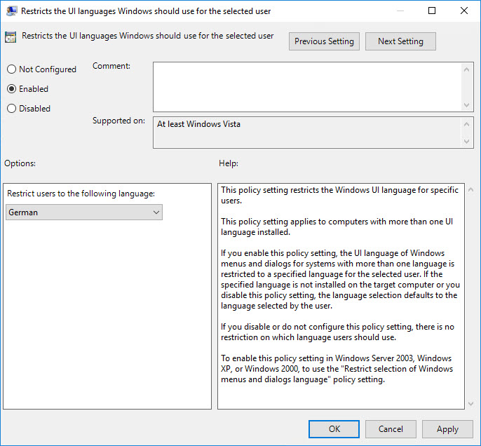 Managing Windows Languages and Language Packs - Group Policy - Set Windows display language
