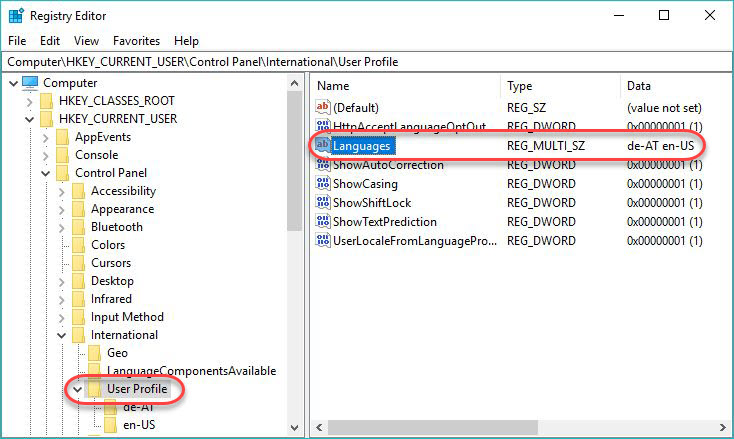Managing Windows Languages and Language Packs - Language Preference registry