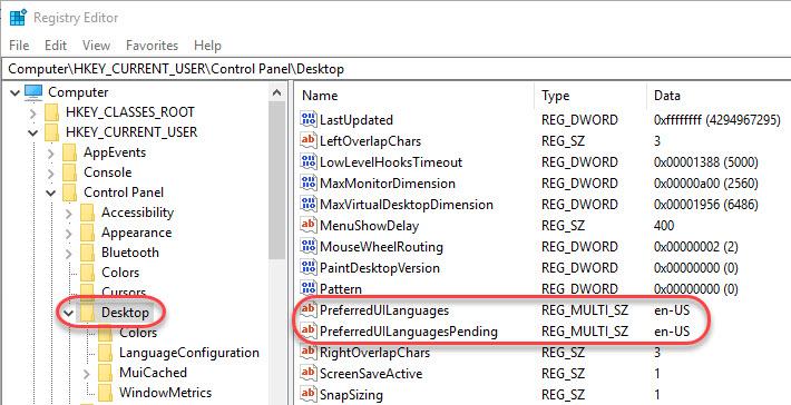 Managing Windows Languages and Language Packs - Registry value for preferred Windows display language
