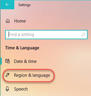 Managing Windows Languages and Language Packs - Start Menu - Settings - Time and Language - Region and Language