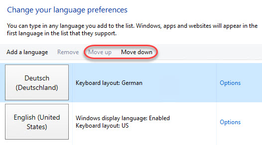Managing Windows Languages and Language Packs - Windows Server 2016 Language Preference Apps move up and down