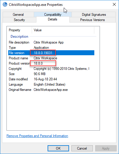 Citrix Workspace App unattended installation with PowerShell - File properties file version