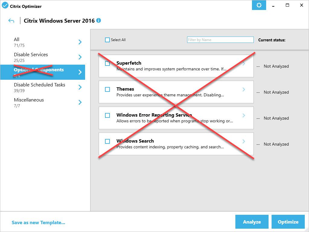 Citrix Optimizer custom template for Windows Server 2016 - Optional Components removed