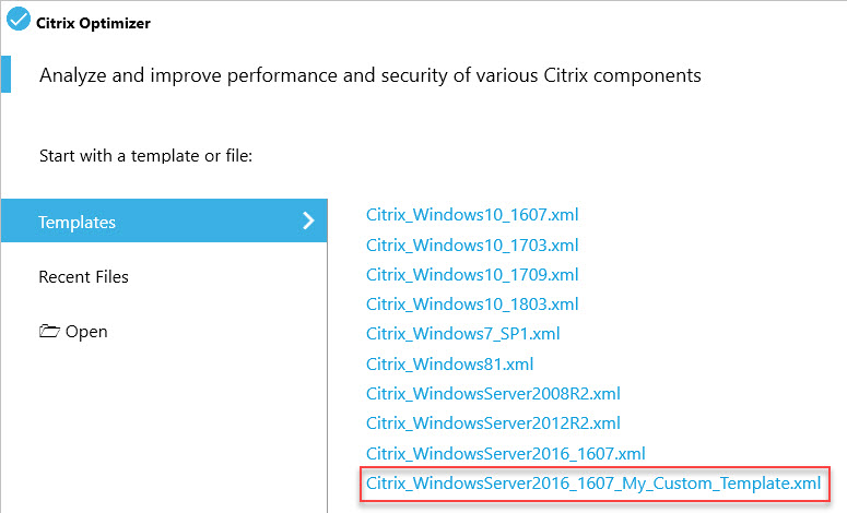 Creating a custom template for Citrix Optimizer - Citrix Optimizer with custom template screenshot
