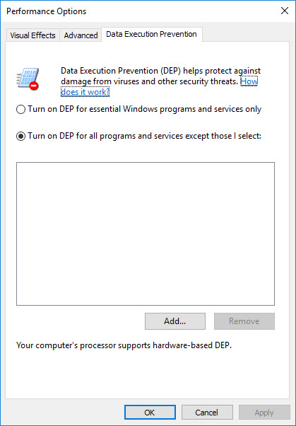 Creating a custom template for Citrix Optimizer - Data Execution Prevention